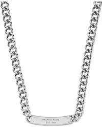Michael Kors Pavé-embellished Plaque Silver-tone Chain-link Necklace - Lyst