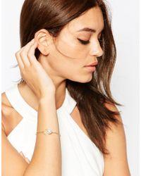 ASOS - Fine Wire Faux Pearl Bangle Bracelet - Lyst
