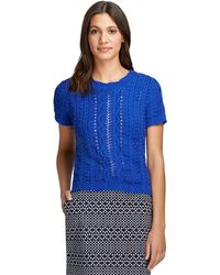 Brooks Brothers Short-Sleeve Cable Knit Crewneck Sweater - Lyst