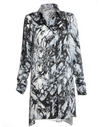 Florence Bridge Isobel Silk Shirt Dress In Marble Print By - Lyst