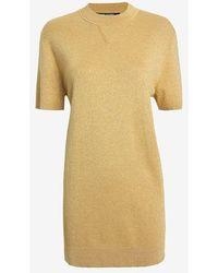 Neil Barrett Gold Lurex Knit Dress - Lyst