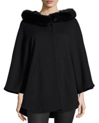 Sofia Cashmere Cape W/ Fur-Trimmed Hood black - Lyst