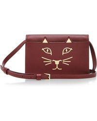 Charlotte Olympia Burgundy Calf Leather Feline Crossbody - Lyst