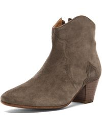 Isabel Marant Dicker Calfskin Velvet Leather Boots - Lyst