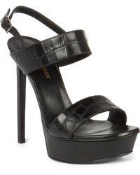 Saint Laurent Bianca Croc-Stamped Leather Platform Sandals - Lyst