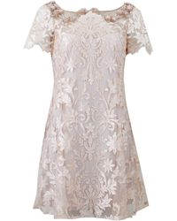 Notte by Marchesa Laser Cut Floral Dress pink - Lyst