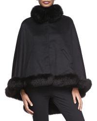 Sofia Cashmere Cashmere Fox-Fur-Trim Cape blue - Lyst
