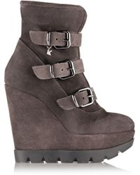 Karl Lagerfeld   Shearling-Lined Suede Wedge Ankle Boots   Lyst