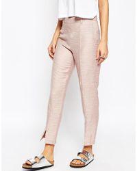 ASOS | Premium Linen Cigarette Trousers With Front Splits | Lyst