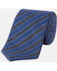 Turnbull & Asser | Slim Informalist Multi Stripe Blue And Black Cashmere Blend Tie | Lyst