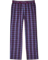 CALVIN KLEIN 205W39NYC - Purple Checked Cotton Pyjama Trousers - Lyst