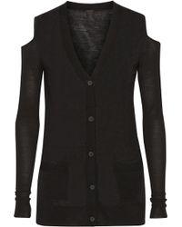 Vera Wang Cutout Wool Cardigan - Lyst