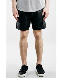 Topman Faux Leather Shorts black - Lyst