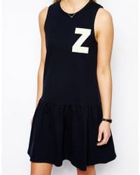 Asos Sweat Dress with Drop Waist Z Applique - Lyst