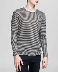 The Kooples Stripe Linen Long Sleeve Tee - Lyst