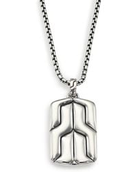 John Hardy | Classic Chain Sterling Silver Dog Tag Necklace | Lyst