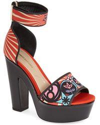 Nicholas Kirkwood Women'S Print Satin Platform Sandal - Lyst