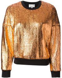 3.1 Phillip Lim Orange Metallic Sweatshirt - Lyst