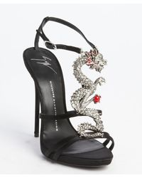 Giuseppe Zanotti Black Satin Strappy Dragon Emblem Sandals - Lyst