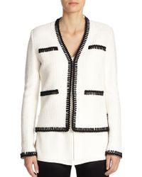 St. John Loop-Trimmed Wool-Blend Jacket - Lyst