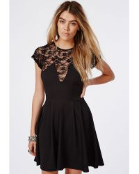 Missguided Erenie Lace Skater Dress Black - Lyst