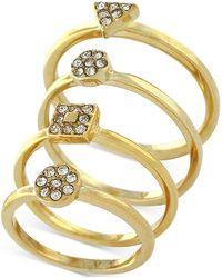 Vince Camuto - Gold-tone Set Of 4 Geo Pavé Stack Rings - Lyst