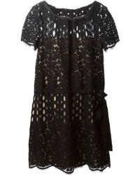 Lanvin Black Lace Dress - Lyst