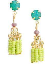 Topshop Women'S Bead Tassel Drop Earrings - Green Multi - Lyst