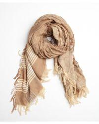 Gucci Beige Cotton-Silk Blend Gg Scarf - Lyst