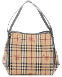 Burberry Dark Grey Patent Leather and Nova Check Coated Canvas Canterbury Small Tote - Lyst