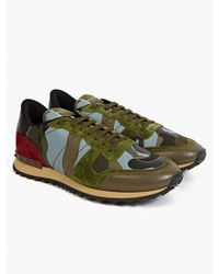 Valentino Mens Camouflage Leather and Suede Sneakers - Lyst