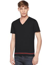 Gucci Cotton Jersey Web Tee - Lyst
