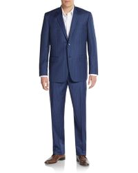 Ike Behar Regular-Fit Pinstriped Two-Button Wool Suit - Lyst