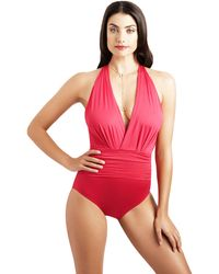 Badgley Mischka | Dip Back Maillot One-piece Swimsuit | Lyst