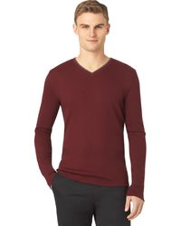 Calvin Klein Rib Knit V Neck T Shirt - Lyst