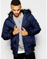 689ec09e7 D-struct Padded Bomber Jacker With Faux Shearling Collar in Blue for ...