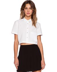 Marc By Marc Jacobs Stretch Poplin Crop Top - Lyst