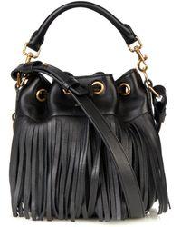 Saint Laurent Fringe Leather Small Bucket Bag - Lyst