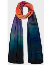 Paul Smith 'Rainbow' Print Silk Scarf - Lyst