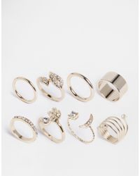 Lipsy - Moon Pave Multipack Rings - Lyst