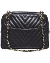 Chanel Preowned Lambskin Chevron Camera Bag - Lyst
