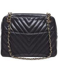 Chanel Preowned Lambskin Chevron Camera Bag - Lyst