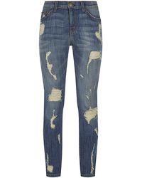 Current/Elliott The Stiletto Jeans Jodie Shredded - Lyst