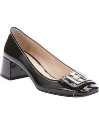 Prada Black Patent Leather Buckle Accent Kitten Pumps - Lyst