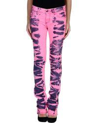 Versus  Denim Trousers pink - Lyst