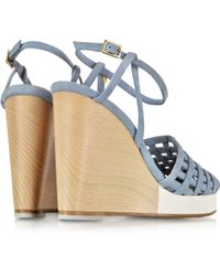 Zoe Lee - Scott Woven Light Blue Suede Wedge Sandal - Lyst