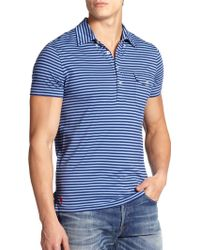 Polo Ralph Lauren Striped Jersey Polo blue - Lyst