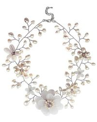 Aeravida - Sweet Clear Quartz With Pearl Embellishments Floral Necklace - Lyst