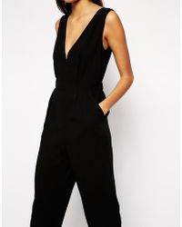 Asos Jumpsuit With Plunge Neck - Lyst