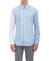 Maison Margiela Mixed-Weave Colorblock Shirt - Lyst